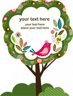 Greeting card with bird and tree
