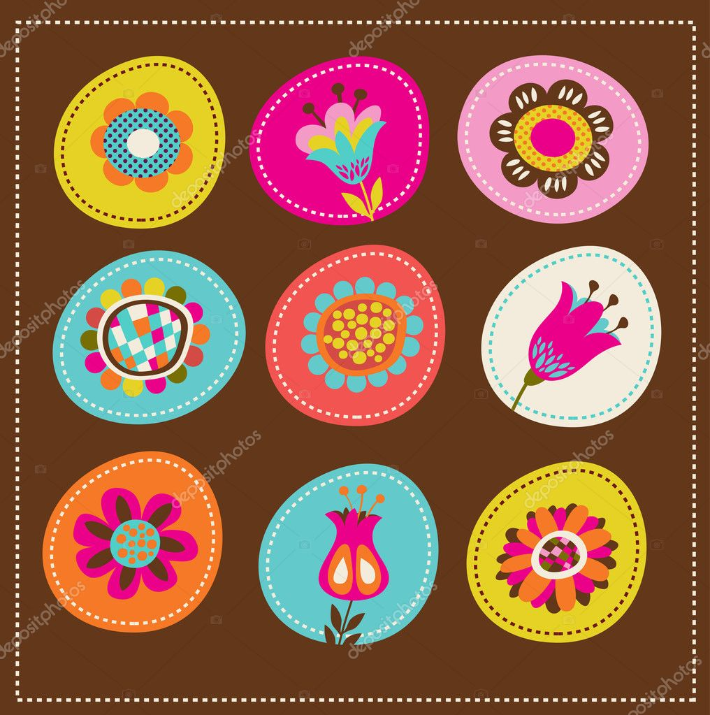 Collection of cute decorative flowers, greeting card