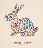 Fotografie Ostern Grußkarte mit Osterhase und geblümten Muster