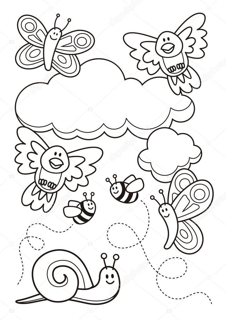 animales bebes para colorear libro — Vector de stock © fractal #9969928