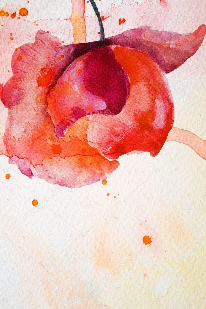 Watercolor background with red flower