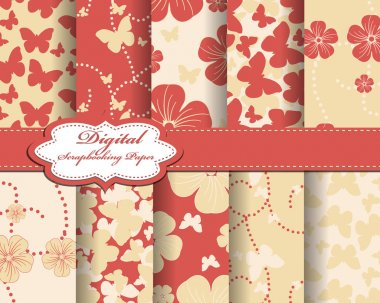Set of flower and butterfly vector paper for scrapbook