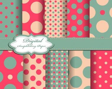 Set of polka dot vector paper for scrapbook