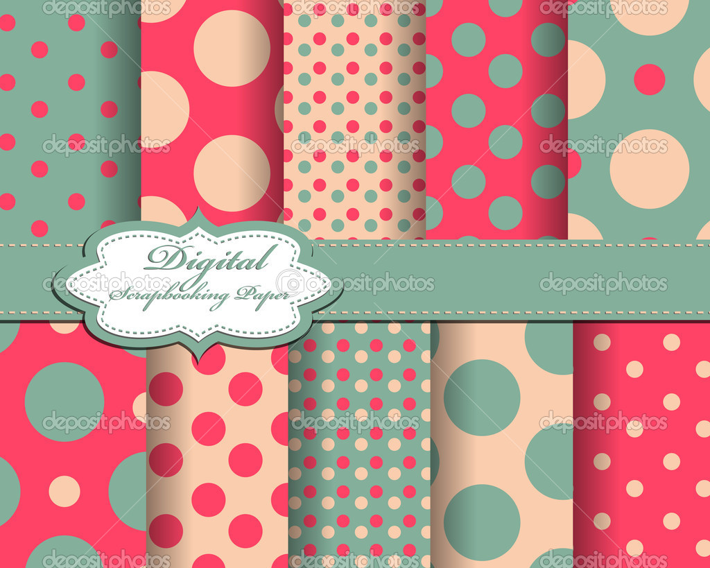 Set of polka dot vector paper for scrapbook