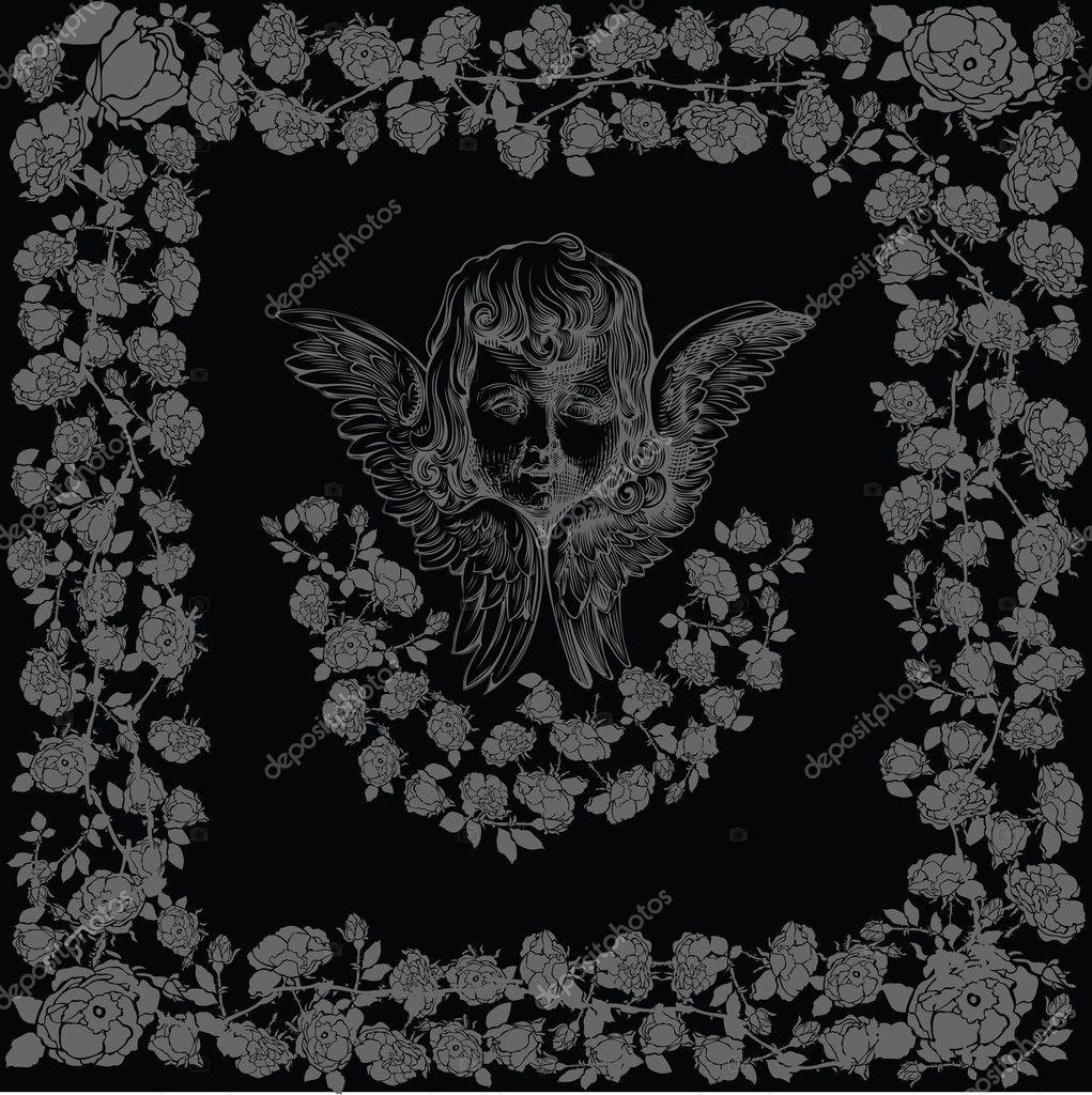 marco Rosa Ángel Cupido negro — Archivo Imágenes Vectoriales ...