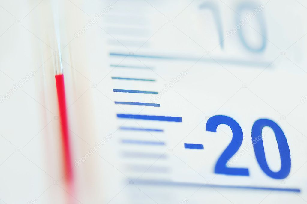 thermometer minus degree temperature in cold winter stock photo