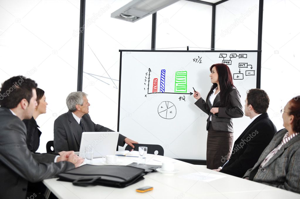 Business sitting on presentation at office. Businesswoman presenting on whiteboard.