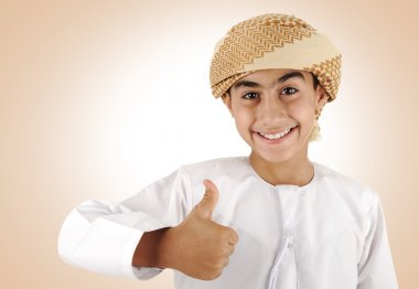 Arabic kid with thumb up