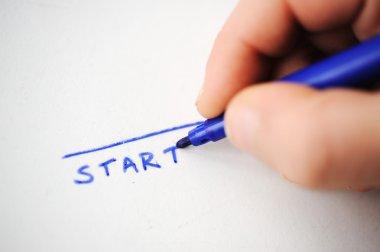 Start, child writing