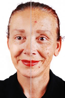 Senior woman with old skin face and retouched other half stock vector
