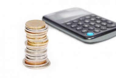 Coins in one place on calculator isolated