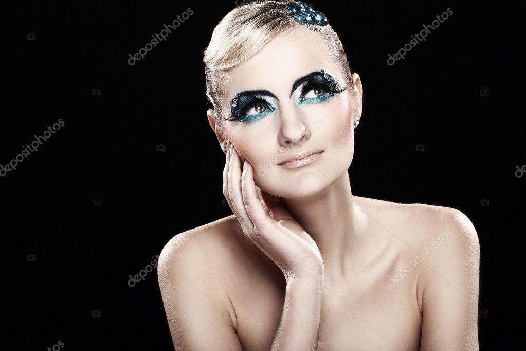 Piękna Blondynka Z Makijażu Artystycznego Zdjęcie Stockowe