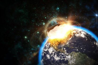 Space scene of asteroid impact