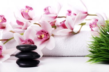 Spa stones and beautiful orchid