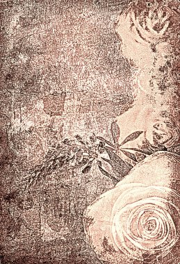 Roses on the old grunge texture