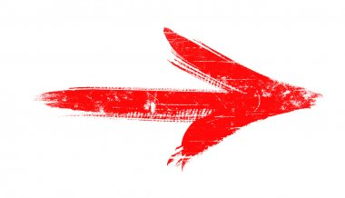 Red grunge arrow