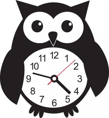 Cute wall clock owl sticker. Vector illustration