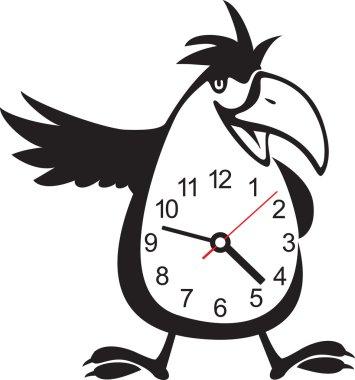 Wall clock parrot sticker. Vector illustration