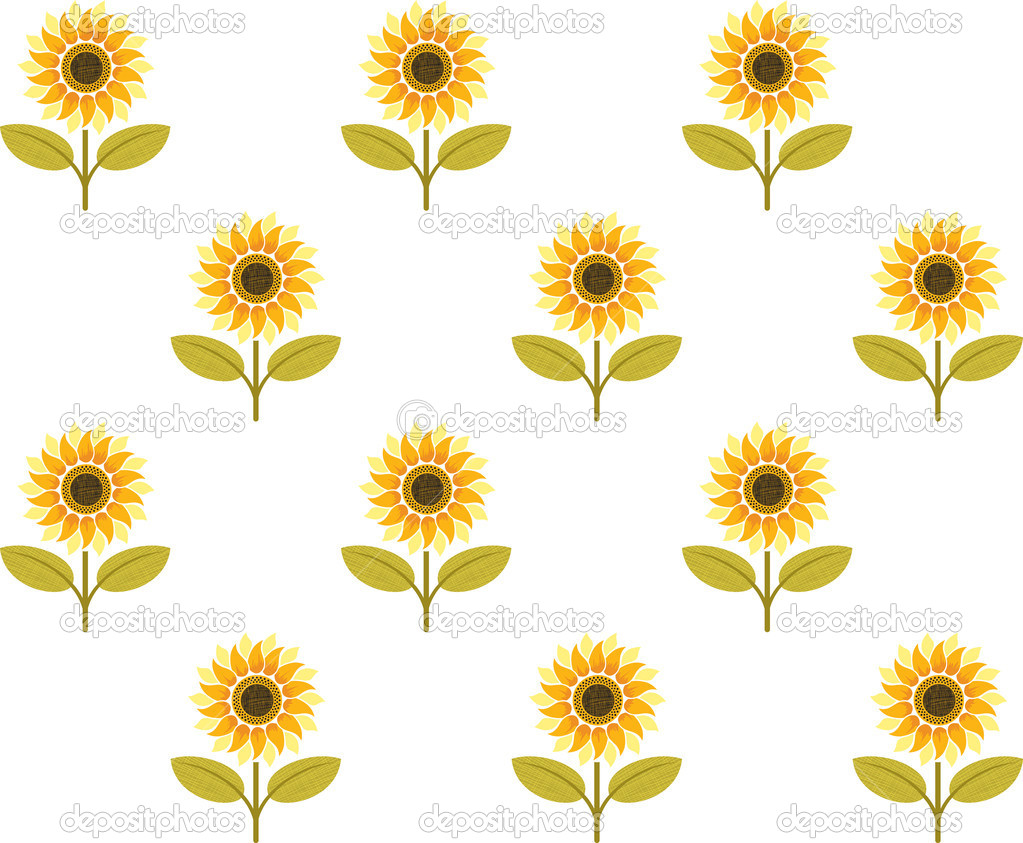 Cute Sunflower Seamless Pattern Stock Vector Colorvalley
