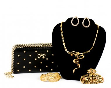 Fashionable handbag and golden jewelry on white background.