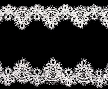Vintage lace with flowers on white background
