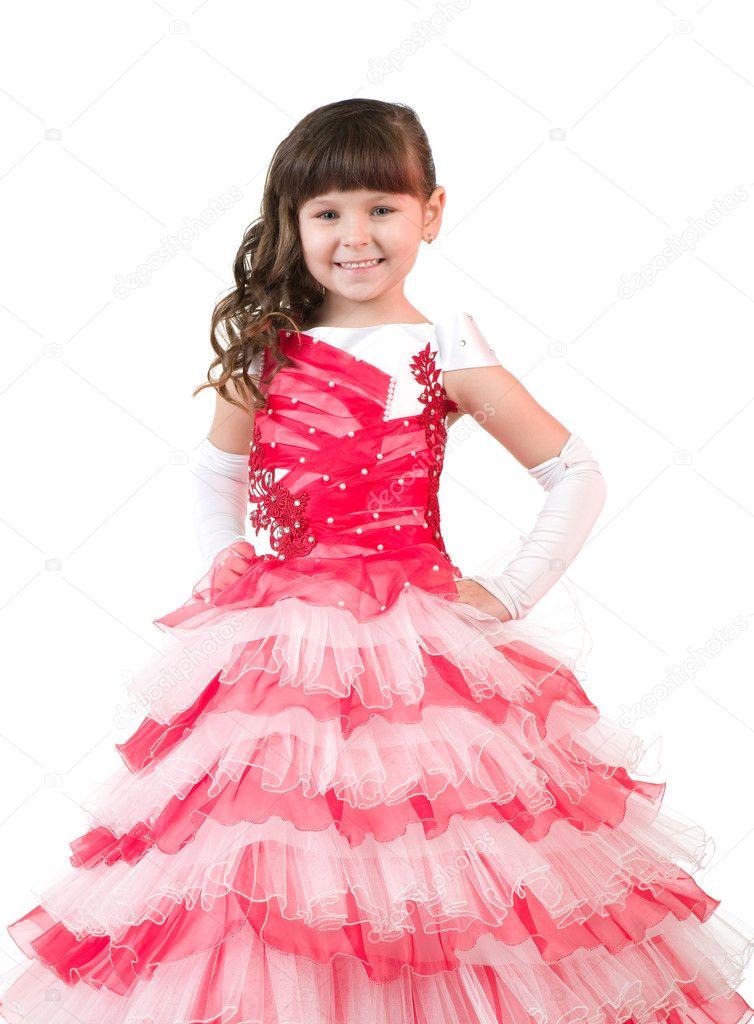 Портрет маленькая девочка с в красивом платье — Стоковое ...
