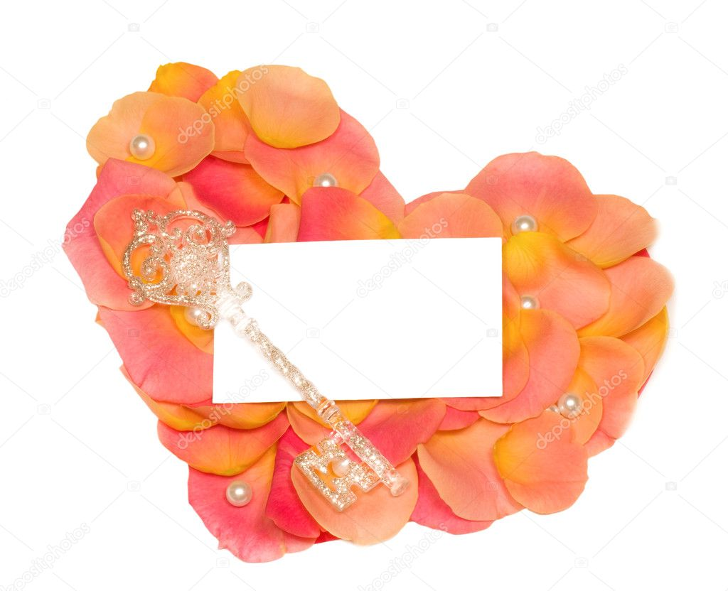 Rose heart with banner to write it on your text and key