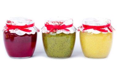 Jar with jam (cherry, kiwi, lemon)