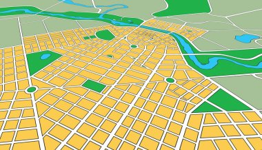 Map of Generic Urban City in Perspective Angle