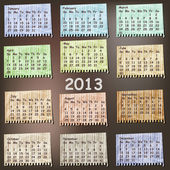 Photo vector 2013 Calendar on vintage striped pieces of paper