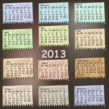 vector 2013 Calendar on vintage striped pieces of paper