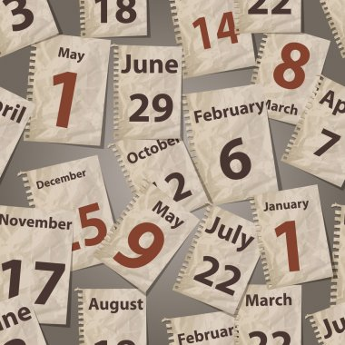 vector seamless pattern with calendar torn away sheets