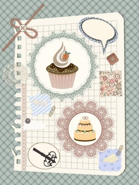 vector scrapbook with nakin and cakes, toys, and other design el