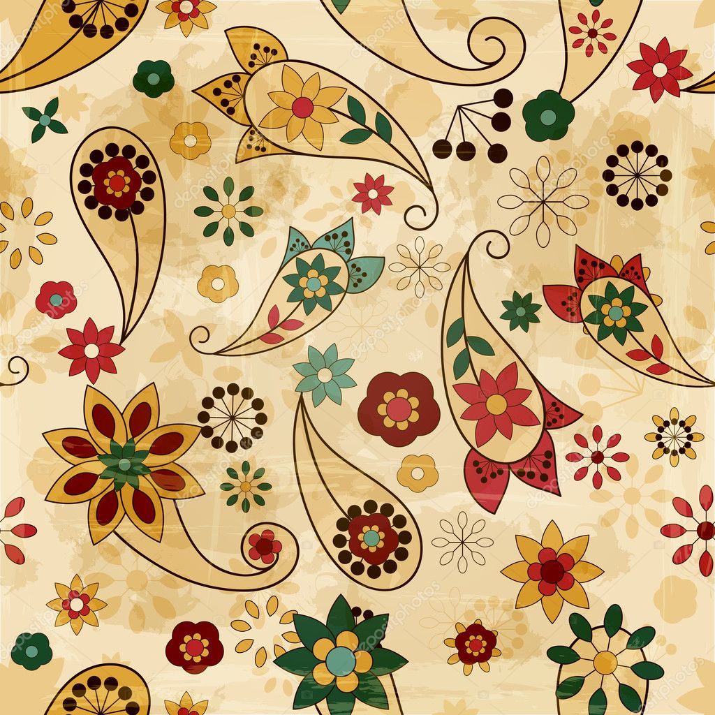 vector seamless spring pattern, paisley elements and flowers, o