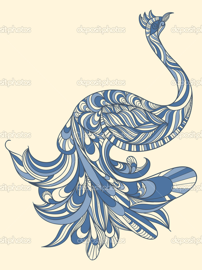 vector peacock with detailed tail