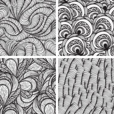 four vector seamless funky monochrome patterns