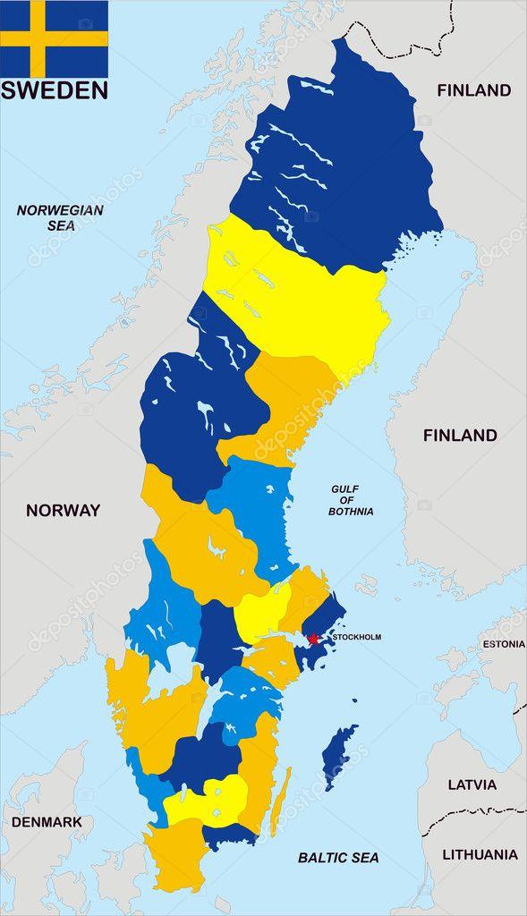 Mapa Politico De Suecia.Mapa Politico Sueco Mapa Politico De Suecia Foto De