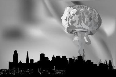 grey explosion cloud in city