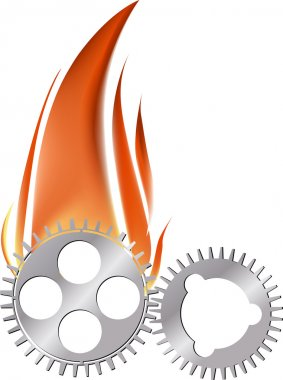 two gears in flame on white
