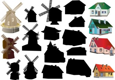 set of isolated coutry buildings