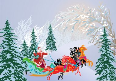 sleigh with three horses in winter forest