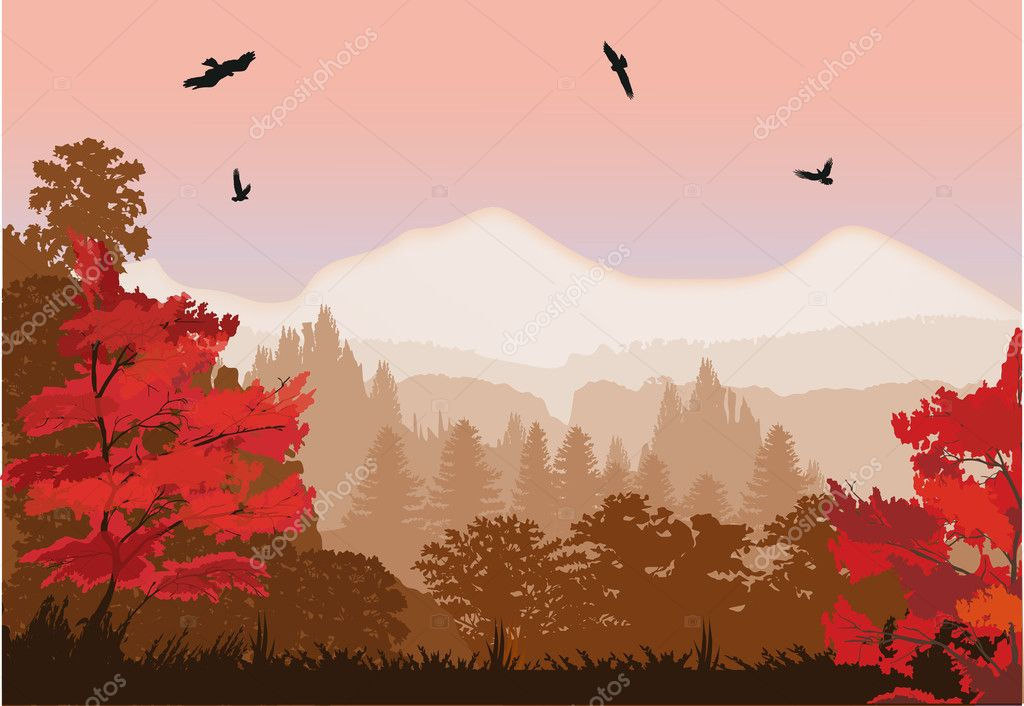 red autumn forest near mountains