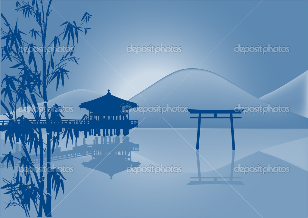 pavilion and reflection in pond blue illustration