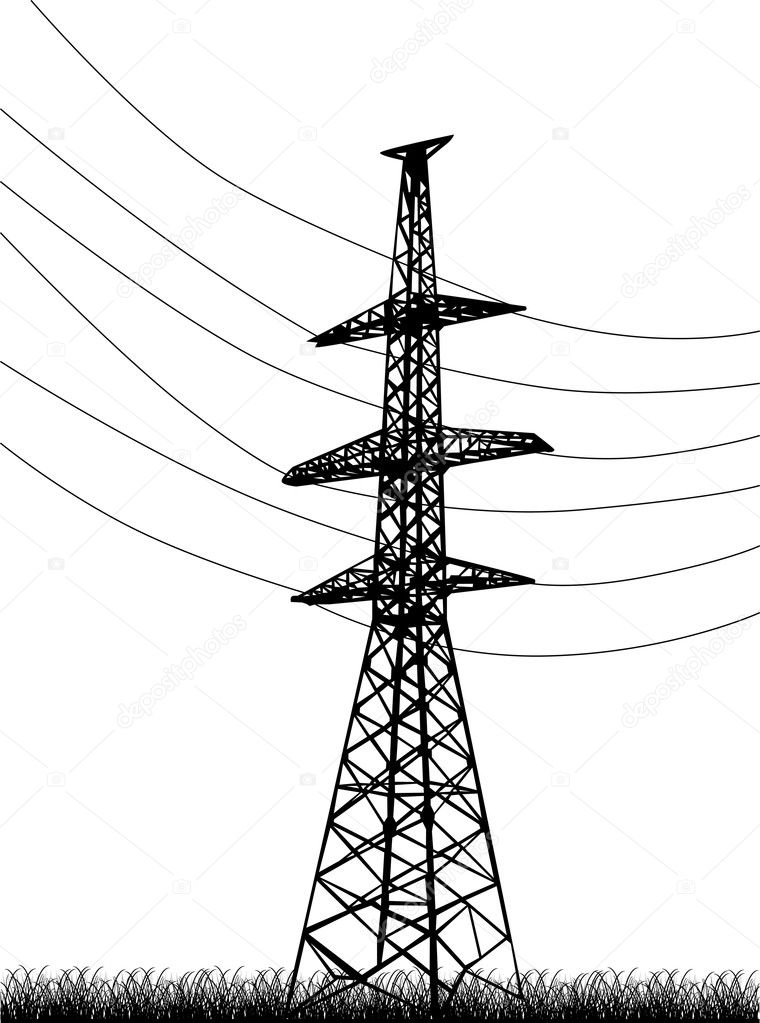 electrical pylon in grass on white  u2014 stock vector  u00a9 dr pas
