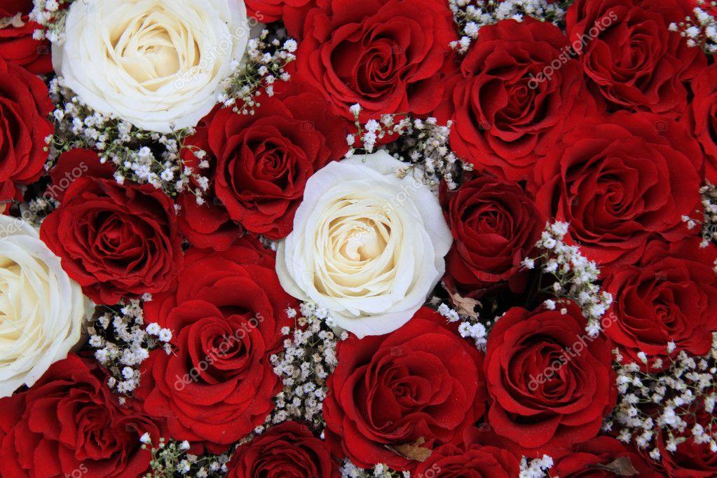 obrázky k valentýnovi Červené a bílé růže v kytici k Valentýnovi — Stock Fotografie  obrázky k valentýnovi