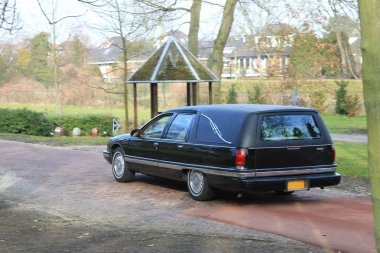 A black American hearse on a graveyard stock vector