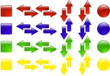 The color vector web arrow icon set