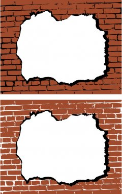 the vector brick wall with hole