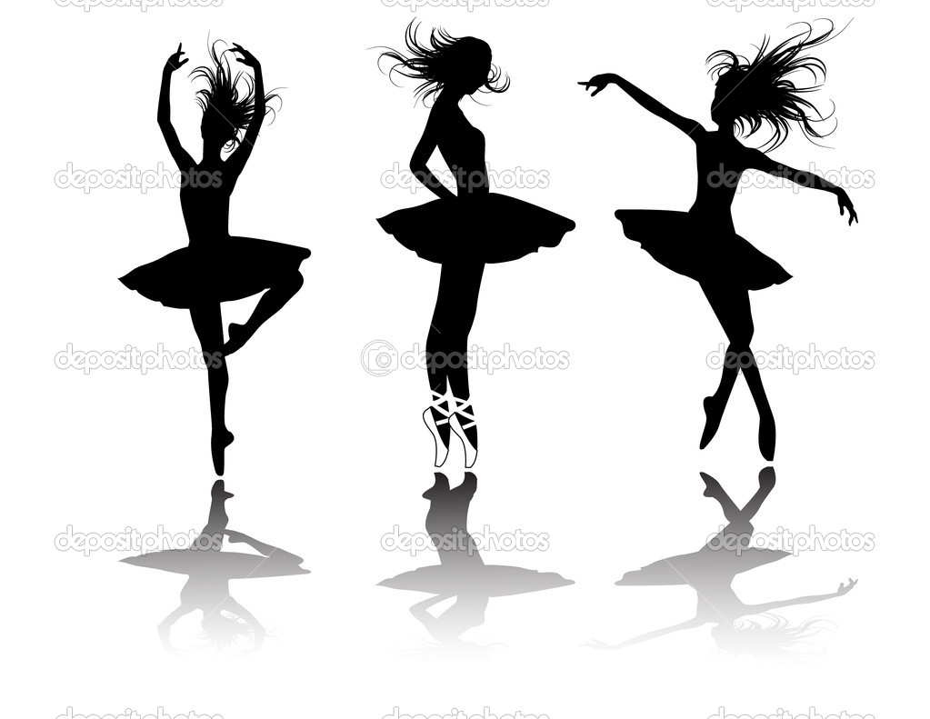The ballet dancers silhouette