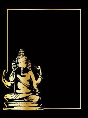 the gold vector ganesha statue
